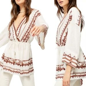 🆕Free People Embroidered Tunic in Ivory